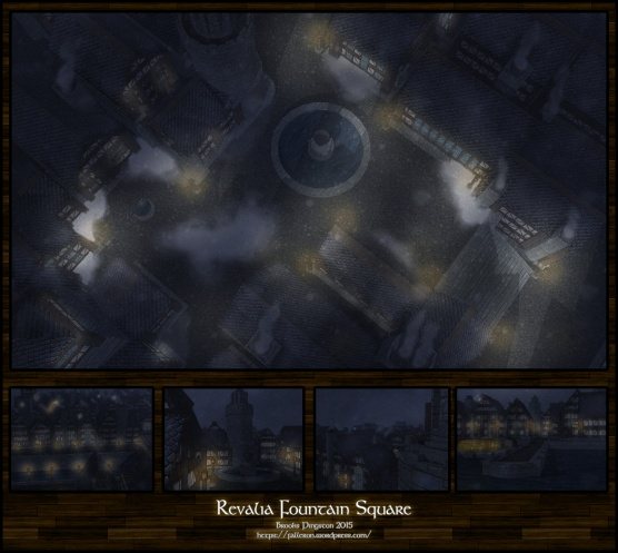 Revalia Fountain Square: Night