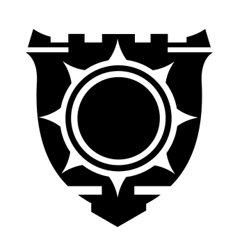 Tamberlain's symbol is a great shield, warded with bastions and bearing the sun as its crest.